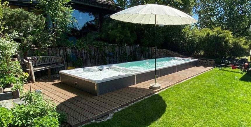 Zwemspa gedeeltelijk inbouwen